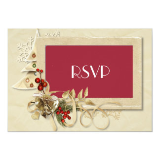 Elegant Christmas Wedding RSVP with Christmas Tree 5x7 Paper Invitation Card