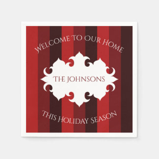 Elegant Christmas welcome red striped Disposable Serviette