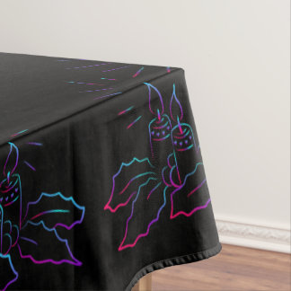 Elegant Christmas wreath and candles neon black Tablecloth