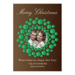 Elegant Christmas Wreath Photo Flat Card - Brown Personalised Invites