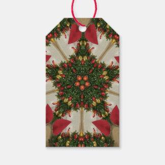 Elegant Christmas Wreath Red Green Kaleidoscope Gift Tags