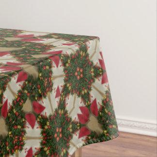 Elegant Christmas Wreath Red Green Kaleidoscope Tablecloth