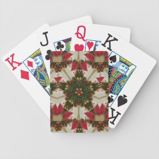 Elegant Christmas Wreath Red Green Kaleidoscopic Bicycle Playing Cards
