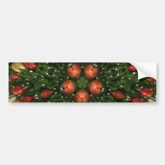 Elegant Christmas Wreath Red Green Kaleidoscopic Bumper Sticker