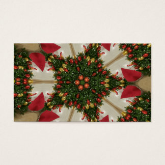 Elegant Christmas Wreath Red Green Kaleidoscopic Business Card