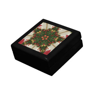 Elegant Christmas Wreath Red Green Kaleidoscopic Gift Box