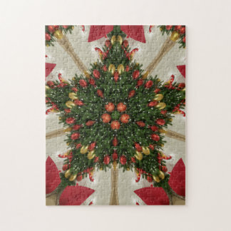 Elegant Christmas Wreath Red Green Kaleidoscopic Jigsaw Puzzle