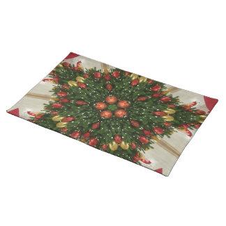 Elegant Christmas Wreath Red Green Kaleidoscopic Placemat