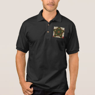 Elegant Christmas Wreath Red Green Kaleidoscopic Polo Shirt