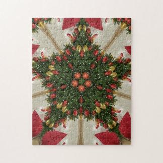 Elegant Christmas Wreath Red Green Kaleidoscopic Puzzle