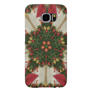 Elegant Christmas Wreath Red Green Kaleidoscopic Samsung Galaxy S6 Cases