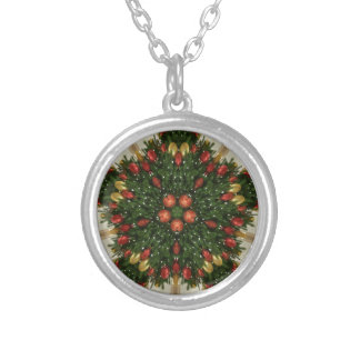 Elegant Christmas Wreath Red Green Kaleidoscopic Silver Plated Necklace