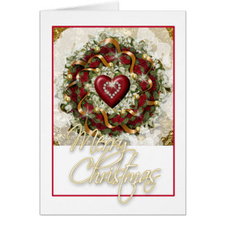 Elegant Christmas wreath red white green heart Card