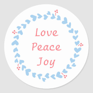 Elegant Christmas Wreath with Blue Hearts Round Sticker
