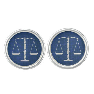 Elegant Chrome Scales of Justice | Law Cufflinks