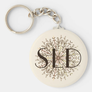 Elegant circle curly floral and vines key ring