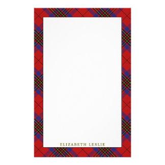 Elegant Clan Leslie Red Tartan Plaid Stationery Design
