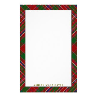 Elegant Clan MacAlister Tartan Plaid Stationery