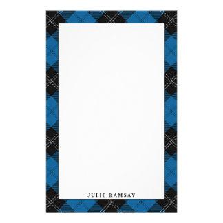 Elegant Clan Ramsay Blue Hunting Tartan Plaid Stationery