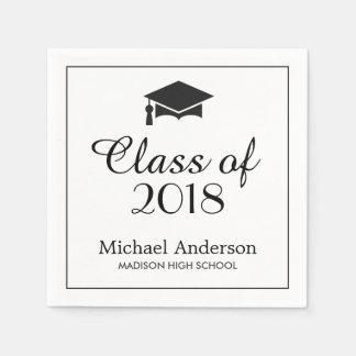 Elegant Class of 2017 Grad Cap Graduation Party Paper Napkin