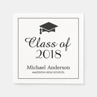 Elegant Class of 2018 Grad Cap Graduation Party Paper Napkin