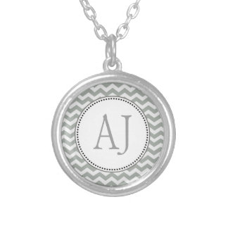 Elegant, classic grey and white chevron zigzag pendants