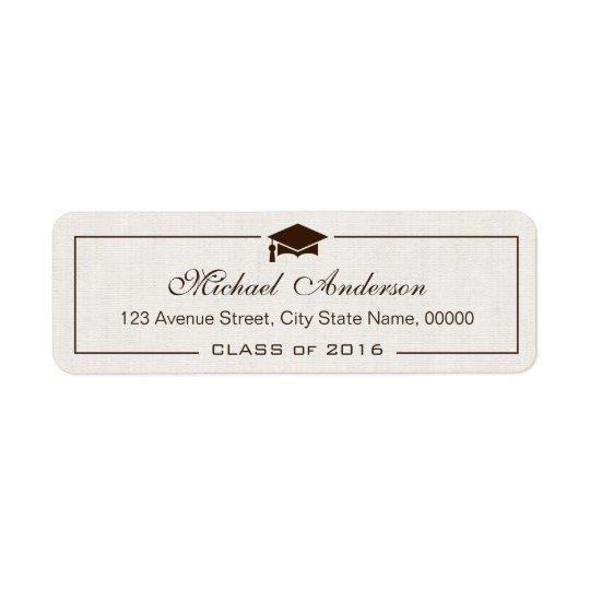 Elegant Classic Ivory Linen Graduation Graduate Return Address Label