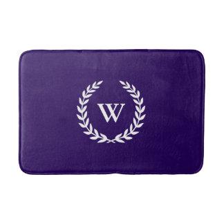 Elegant Classic Monogram Navy Blue Bath Mat