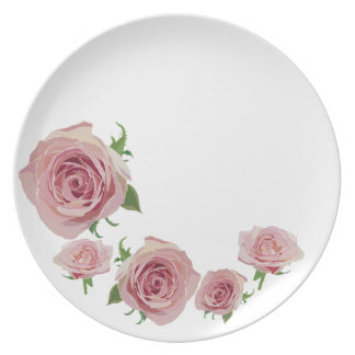 Elegant classic pink roses flower pattern party plates