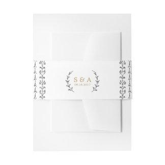 Elegant classic rustic vintage wedding monogram invitation belly band