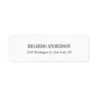 Elegant Classic Simple White Professional Plain Return Address Label