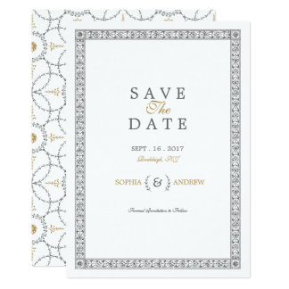 Elegant classic vintage wedding save the date card