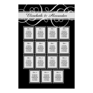 Elegant Classic Wedding 15 Table Seating Chart Poster
