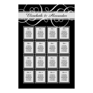 Elegant Classic Wedding 16 Table Seating Chart