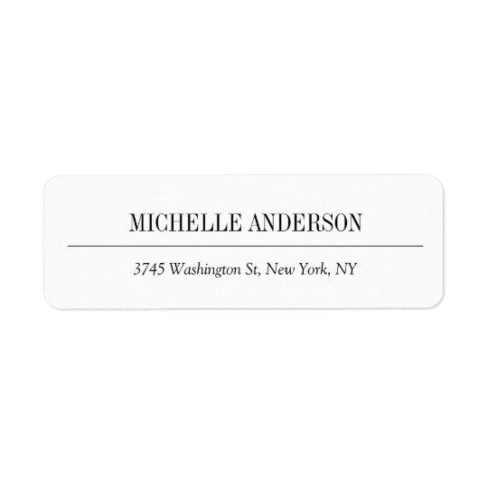 Elegant Classical Simple White Professional Plain Return Address Label