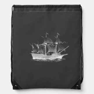 Elegant classy ancient ship drawstring bag