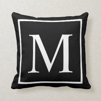 Elegant Classy Black Customize monogram Cushion