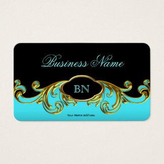 Elegant Classy Black Teal Blue Gold Floral Business Card