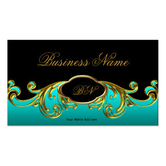 Elegant Classy Black Teal Blue Green Gold Floral Pack Of Standard Business Cards