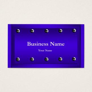 Elegant Classy Blue Silver Metal Chrome look Business Card