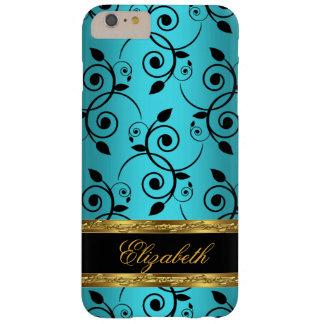 Elegant Classy BLUE TEAL Green Black Gold Floral iPhone 6 Plus Case