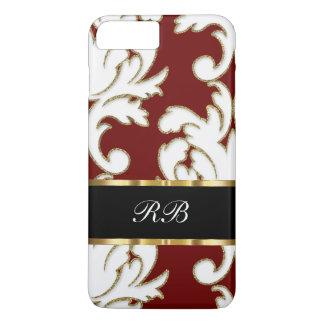 Elegant Classy Damask Pattern Monogram iPhone 8 Plus/7 Plus Case
