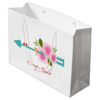 Elegant Classy Floral Pastel Floral Love Arrow Large Gift Bag