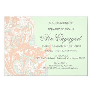 Elegant Classy Florals - Green, Apricot, Pistachio 13 Cm X 18 Cm Invitation Card