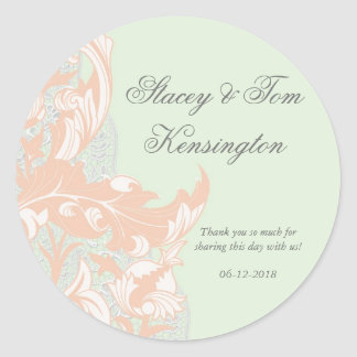 Elegant Classy Florals - Green, Apricot, Pistachio Round Sticker