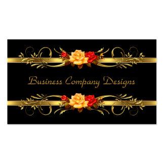 Elegant Classy Gold Black Red Roses Pack Of Standard Business Cards