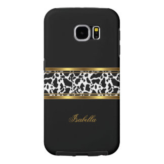 Elegant Classy Gold Black White Cow Samsung Galaxy S6 Cases