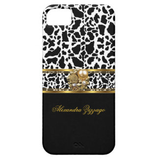 Elegant Classy Gold Black White Cow With Jewel 3 Cover For iPhone 5/5S