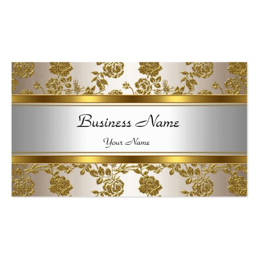 Elegant Classy Gold Cream Floral Business Cards