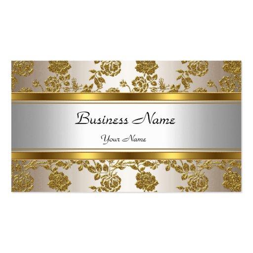 Elegant Classy Gold Cream Floral Business Cards